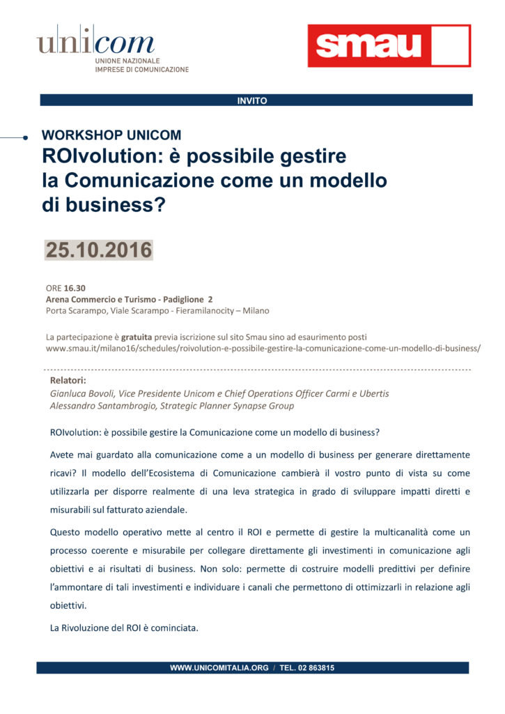 Invito SMAU ROIVOLUTION Alessandro Santambrogio