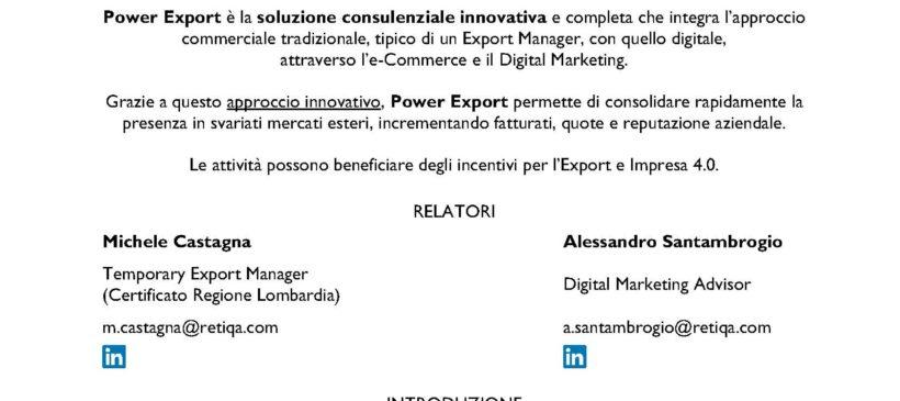 POWER EXPORT: l'approccio integrato all'internazionalizzazione